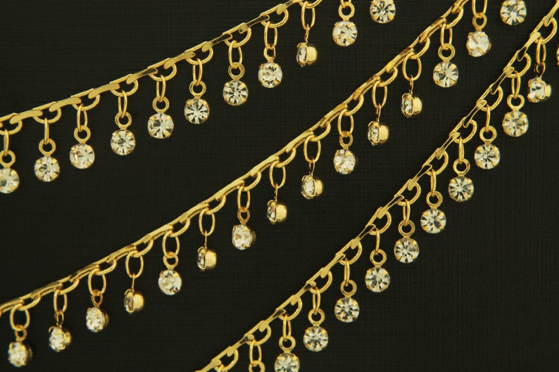 1 meter Nickel free Unique Chain Necklace Supplies 16K Gold Plated Brass CJ35-08 Dainty Chain CZ Dangling Cubic Handmade Chain