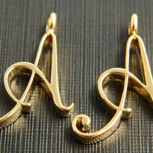 Coin Pendant Cubic Letter Alphabet C 16K gold plated brass 1.7mm open link Large 21x2mm AC-G16 1 piece Nickel free Initial Coin