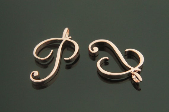 2 pcs 3mm thick 19x17mm Capital letter Alphabet charm  pendant Alphabet X with link Rose gold plated brass AX-P8