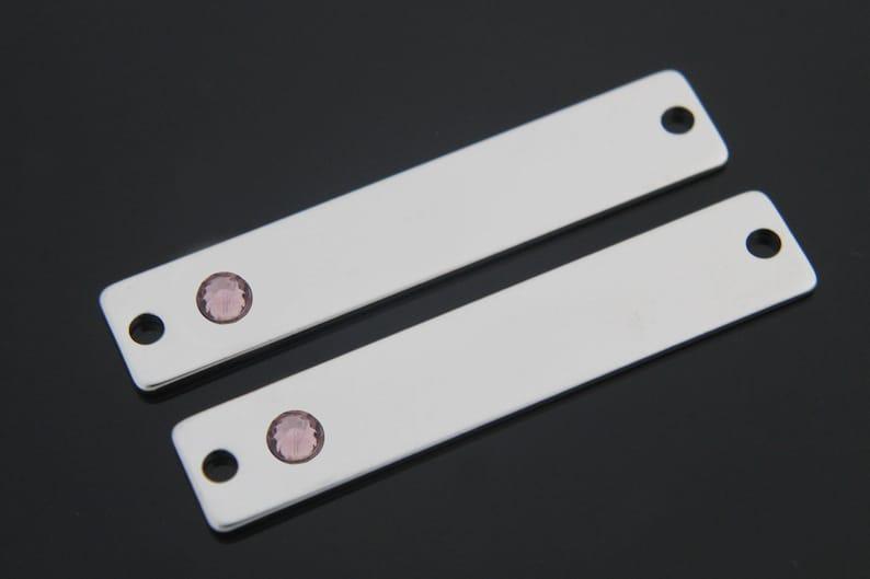 Original rhodium plated brass Nickel Free Amethyst 2 pcs February Stone Stamping Blank Bar 40x8mm Personalized K5AM-R Birthstone Bar