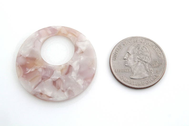2.7mm thick Outer 35mm Acetate Celluloid Ring Charm 1 piece M5-P7 Inner 15mm Mother-of-Pearl Color Mix
