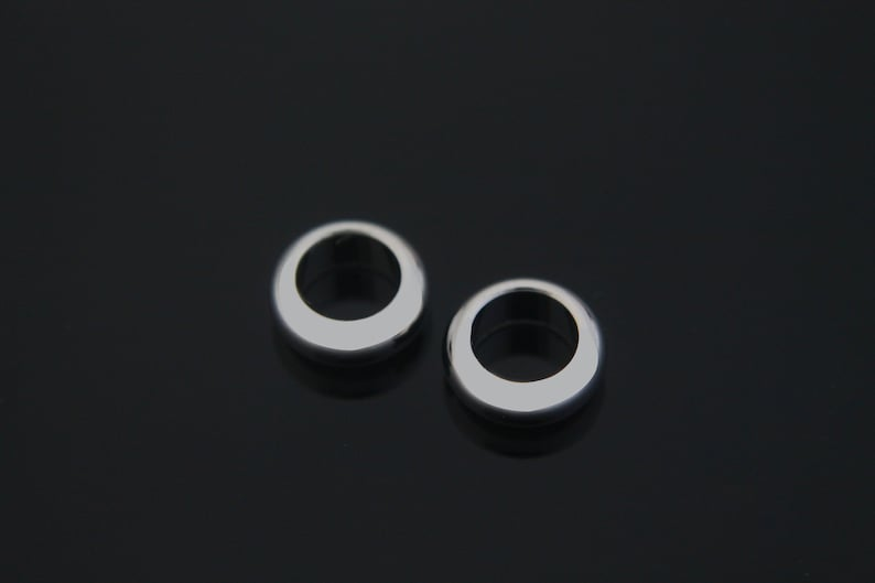 20 pcs Jewelry component 4x10mm Inner 6mm Original rhodium plated brass Jewelry findings Thick ring S62-R1 Ring beads Nickel free