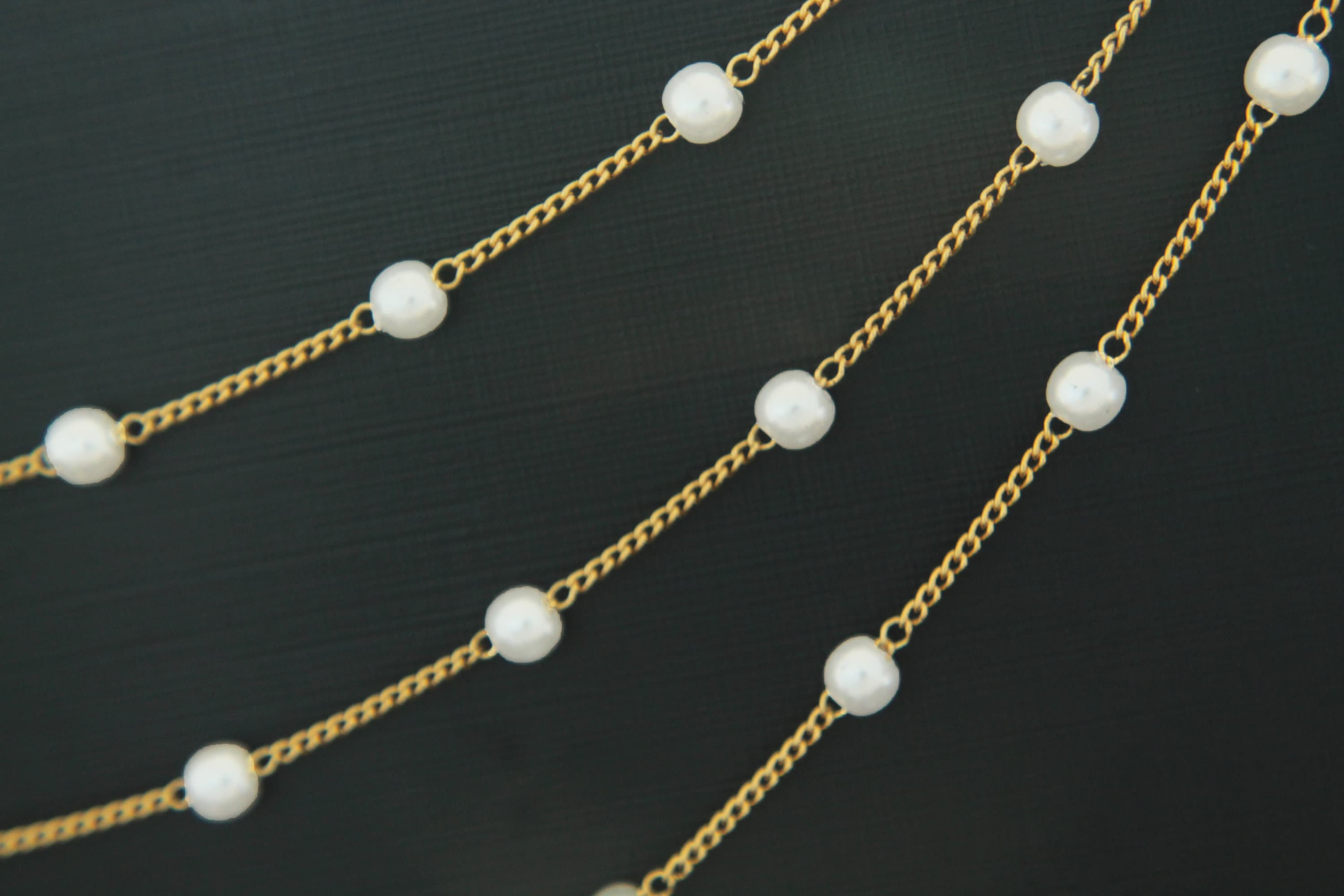 4mm Pearl Chain, Nickel free, CJ39-06, 1m, 4mm Pearl, 16K gold ...
