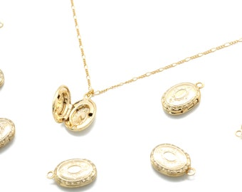 Oval Locket Pendant, Q8-G3, 1 piece, 13x10mm, Inner 1.6mm link, 16K Gold Plated Brass, Nickel Free, Antique Style Pendant, Picture Locket
