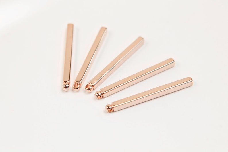 Square of sticks S3-P1 Rose gold plated brass 30 pcs Stick charm 25x2mm Stick CY61-08 Not easily tarnish