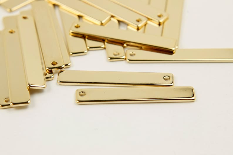 20 pcs MARKDOWNS 16K shiny gold plated brass 1 hole 30x5mm Bar charm Personalized stamping bar Not easily tarnish A9-G1 Nickel free