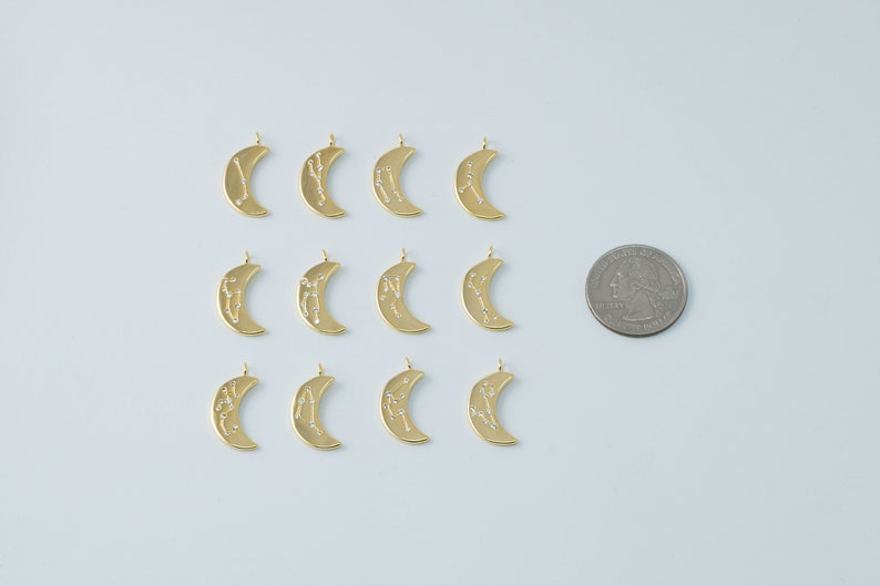 Constellation Nickel free Necklace supplies K8-VC1 Birth Sign Brass CZ Crescent moon zodiac charms 1 piece per sign,