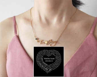 9f28ccc21 Custom Love You Necklace - Personalized I Love You Necklace 100 Languages  for Girlfriend Heart Love Necklace Love Memory Pendant Necklacen