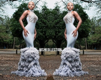 0d586b5d2479 ASIMI Custom prom wedding embroidery sheer feather dress gown bride