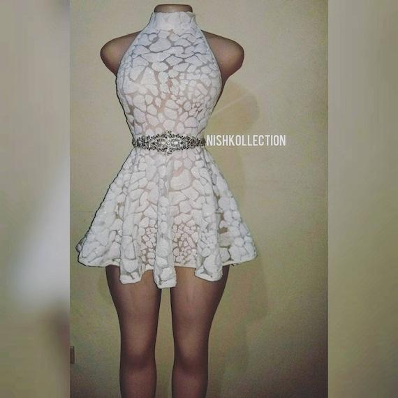 Custom White Turtle Neck Skater Mini Dress Ball Gown Evening Wedding Dress