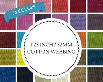 """1.25"""" Cotton Webbing Your Choice of Color Mix from 36 Colors"""