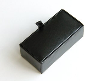 Cufflink Case Black Leather Look Paper Storage Box With Velvet Touch Lining  For One Pair Cuff Link Men Jewelry Display Packaging