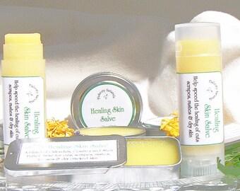 Healing salve, natural herbal salve, Calendula salve Tin or Tube