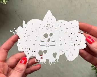 Original Pokemon Paper-cut Artwork Bulbasaur Tigerlily Hand-cut Paper Art
