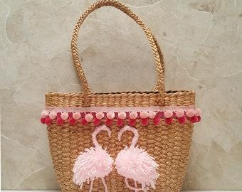 Flamingos Straw bag