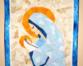 """Custom Mary and Jesus Quilt or Wall Hanging Made to Order 24"""" Wide by 36"""" Long Designed by Jen Frost Using Paper Piecing Method"""