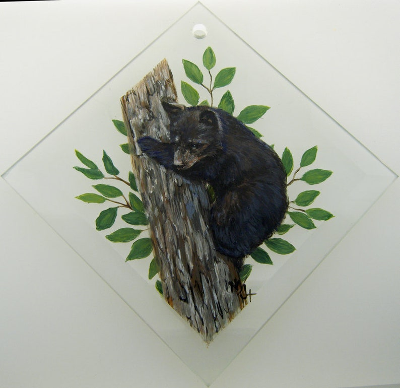 Hand Painted Glass Ornament Black Bear Cub