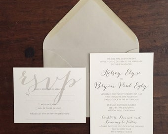 Traditional Wedding Invitation Suite with a Casual Twist // Beautiful Script // Purchase this Deposit to Get Started