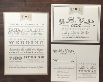 Vintage Wedding Invitations // Neutral Tones // Twine and Burlap // Purchase this Deposit to Get Started