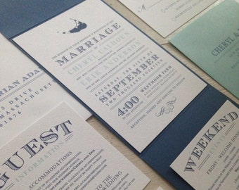 Nantucket Pocketfold Wedding Invitation Suite // Elegant and Timeless // Nautical // Purchase this Listing to Get Started