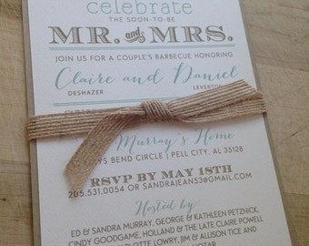 Couple's Wedding Shower Invitation // Burlap and Vintage // Purchase this Deposit Listing to Get Started