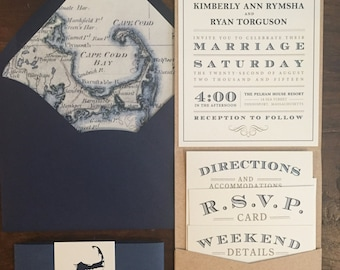 Wedding Invitation Suite  // Navy and Cream // Purchase this Deposit to Get Started