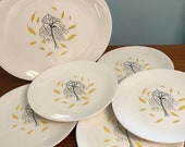 Falling Leaves Autumn Plates Johnson Bros Brother China Weeping Willow Tree