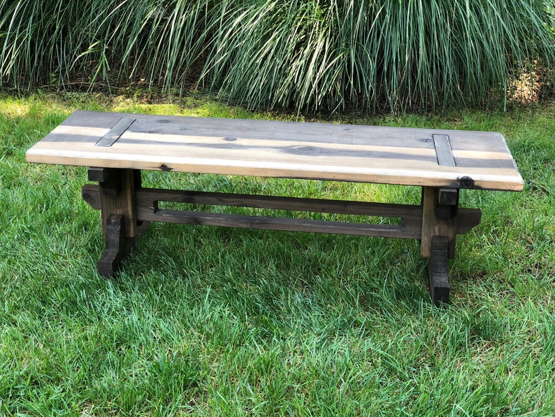"""48"""" Rustic Garden Bench - Japanese Joinery Inspired 