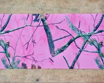 "3"" Pink Mossy Oak Ribbon"