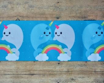 "3"" Narwhal & Rainbow Ribbon"