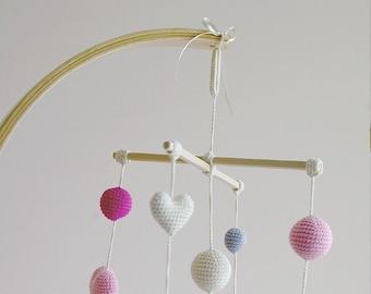 Crib Mobile - Crochet Pink Baby Girl mobile - Ivory/Pink/Gray Hearts Balls Mobile (4-color mobile) - Baby girl nursery