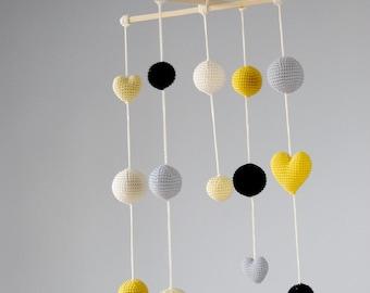 Crochet Balls/Hearts Baby Mobile - Grey/Yellow/Black Ball's Mobile(5-color mobile) - Boys/Girls room decoration