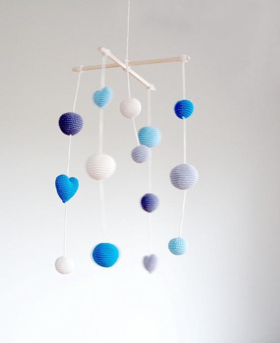 Häkeln Aqua Blau Herzenkugeln Baby Mobile Graublauaqua Etsy