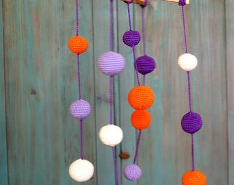 Crochet Baby Mobile-Purple/Orange/Ivory 4-color baby ball's mobile - Colorful Ball Mobile - Purple Kids room decoration - Baby shower gifts