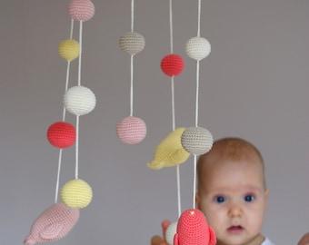 Birds Mobile - Crochet Birds Mobile - Coral/cloudy pink/yellow/ivory/beige Bird Ball mobile - Baby nursery decor - Spring mobile
