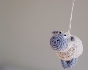 Crochet Sheep Mobile - Baby Mobile - Crochet Hanging Crib Mobile - Kids room decoration - Perfect gift for baby
