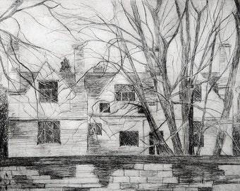 Enough House, Drypoint, 2013