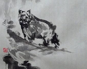 Bear, Bear Painting, Wild Life, Watercolor Portrait, Sumi-e, Abstract Art, Zen, Zen Painting, Minimalist Art