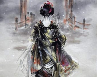 Original Geisha Painting, Sumi-e, Surreal Portrait, Torii Gate, Winter landscape, Geisha, Home decor.