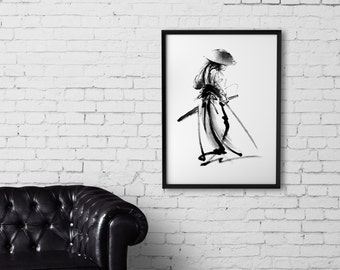 Japanese Warrior Print, Samurai Poster, Ink Painting, Sumi E Malerei,  Katana Home Decor