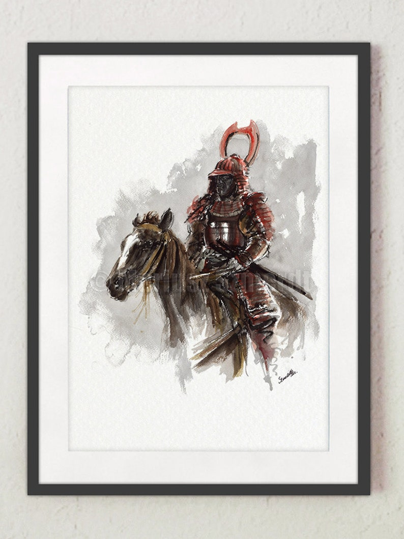 Samurai on horse samurai poster japanese warrior painting image 0