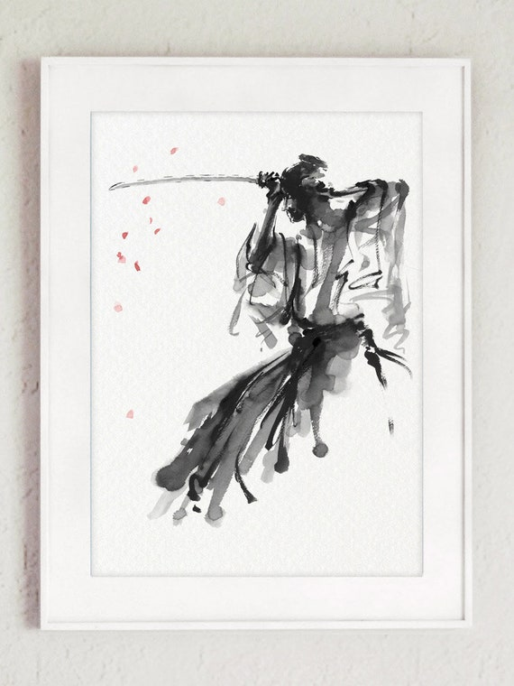 Impression Dart Samourai Bushido Code Fleur De Cerisier Arbre Japonais Katana Wakizashi épée Dessin Noir Blanc Gris Peinture à Lencre Rose