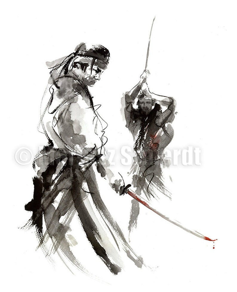 Samurai Poster Japanese Sword Fight 48 Ronin Surreal Art image 0