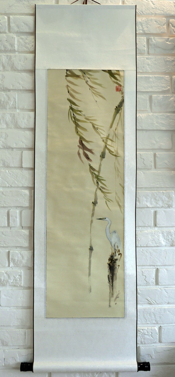 Heron Chinesische Tuschemalerei Bambus Chinesischen Etsy