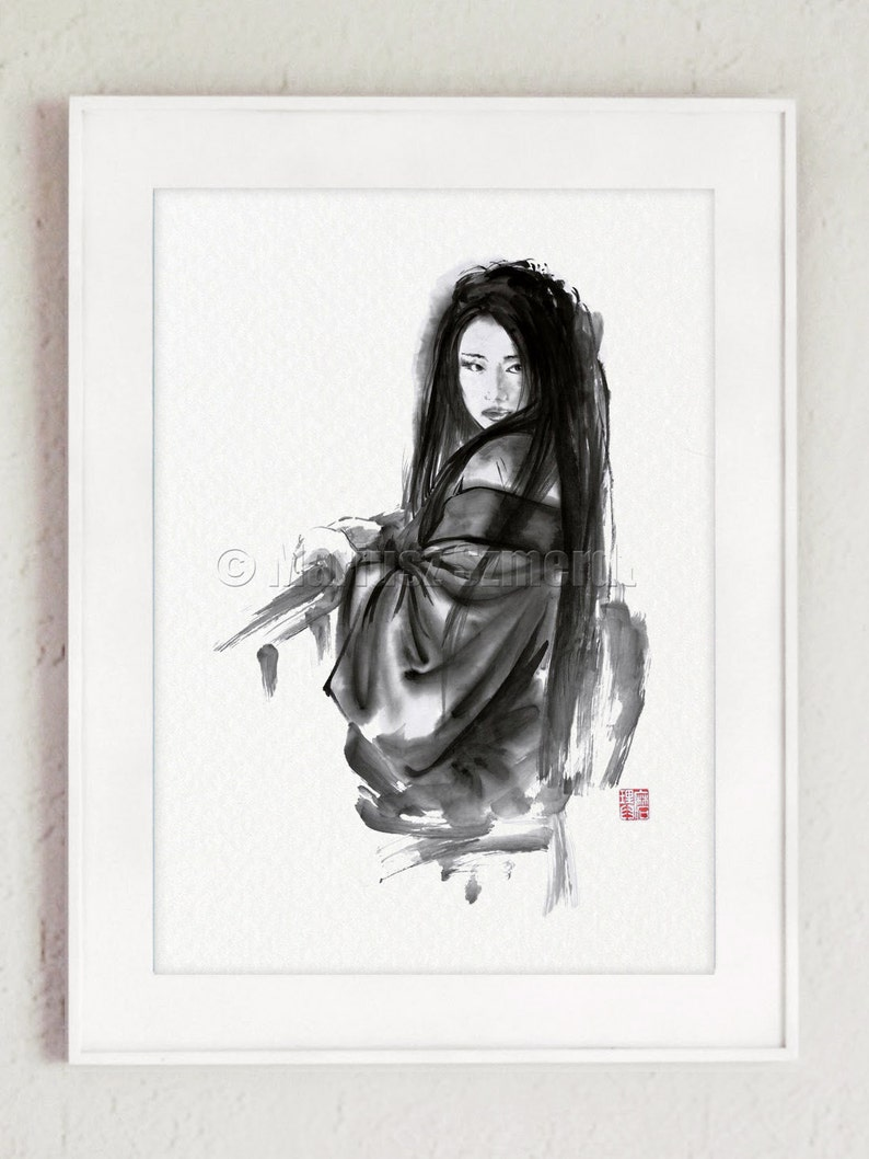 Geisha Prints Geisha Home decor Geisha Painting Geisha Wall image 0