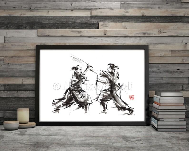 Samurai Akira Kurosawa Japan Style Wall Art Poster Abstract image 0