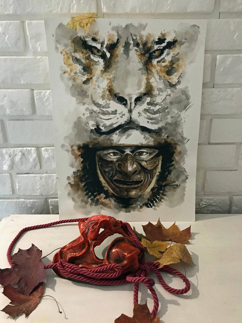 Samurai artwork Tiger Japanese Spirit Sumi-e Warrior Soul image 0