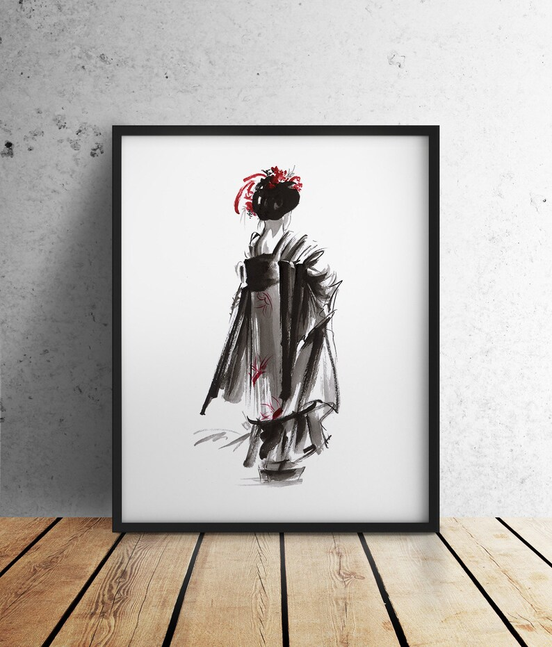 Geisha Kimono Prints Geisha Wall Decor Japanese Girl Poster image 0