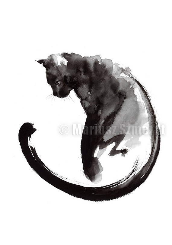 Black Cat Cat Painting Sumi E Abstract Cat Lucky Symbol Etsy