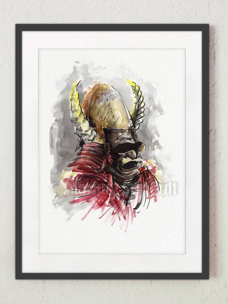 Samurai Helmet Painting Japanese Style Poster Warrior Wall image 0